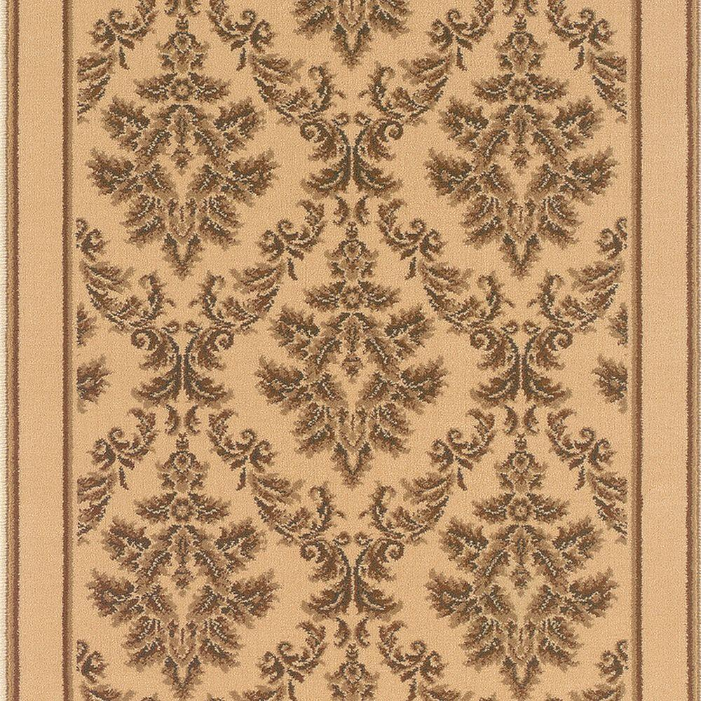 Kurdamir Damask Ivory 33 in. x Your Choice Length Stair Runner