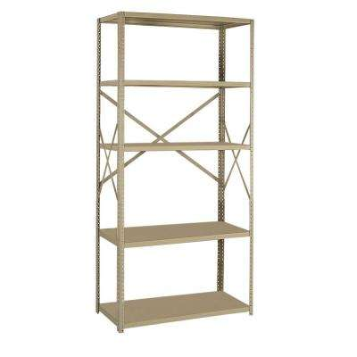75 in. H x 36 in. W x 12 in. D 5-Shelf Steel Commercial Shelving Unit in Tan