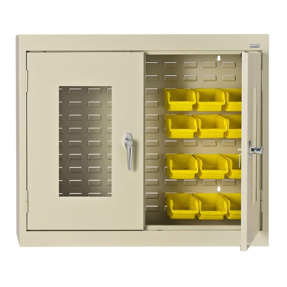 null 30 in. H x 36 in. W x 12 in. D Clear View Bin Wall Cabinet in Putty