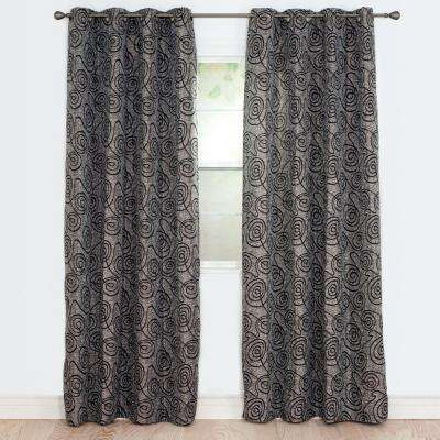 Semi-Opaque Joy Black Polyester Jacquard Curtain