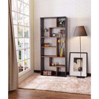 Chas Cube Bookcase in Espresso and Walnut