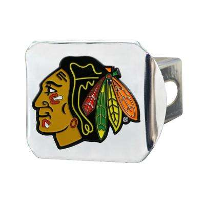 NHL Chicago Blackhawks Color Emblem on Chrome Hitch Cover