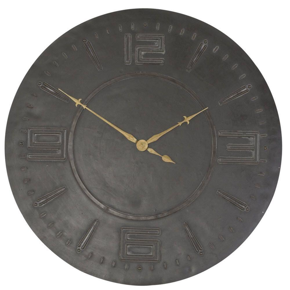 Home Decorators Collection 30.5 in. Fusca Brown Round Wall Clock