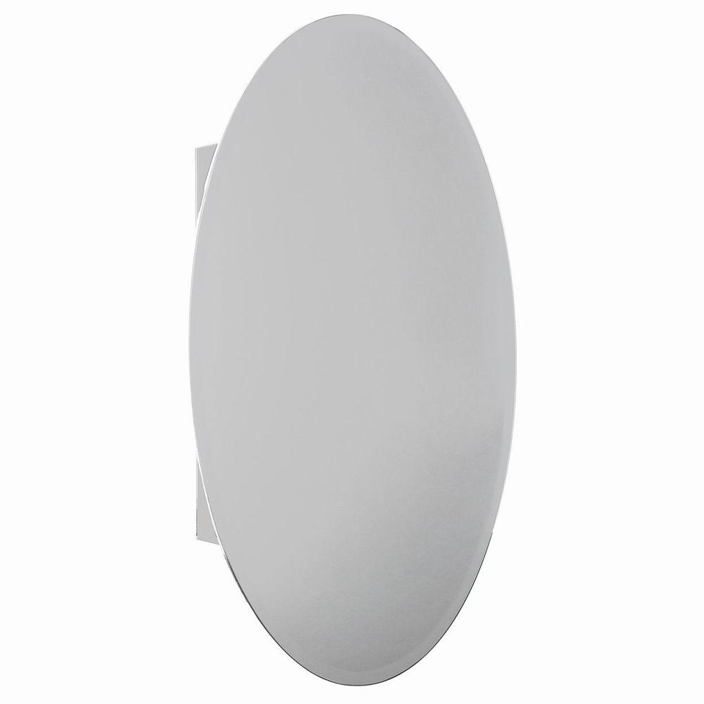 H Recessed Or Surface Mount Bathroom Medicine Cabinet With Oval Beveled Mirror
