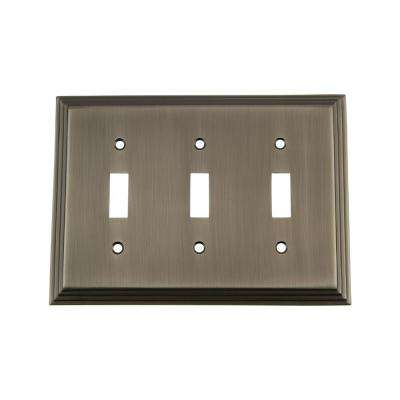 Deco Switch Plate with Triple Toggle in Antique Pewter