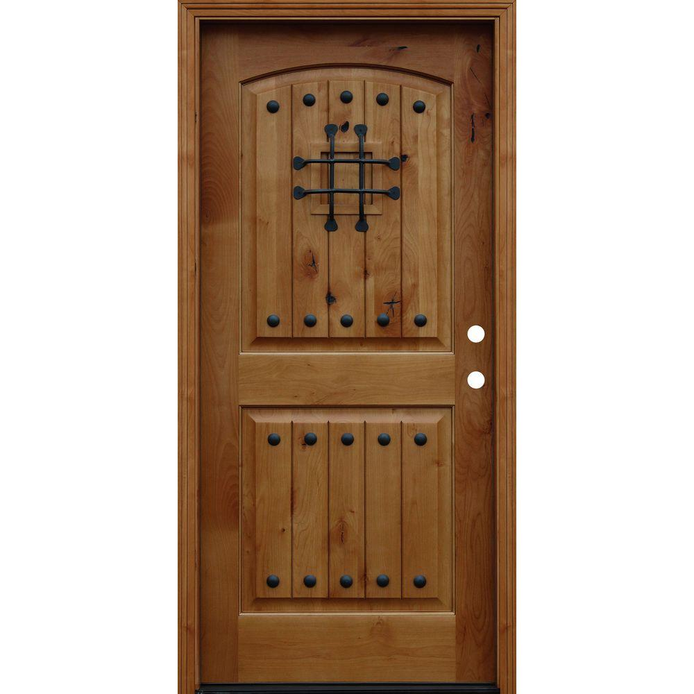 36 in. x 80 in. Rustic Arched 2-Panel V-Groove Stained  sc 1 st  Home Depot & 36 x 80 - Alder - Front Doors - Exterior Doors - The Home Depot