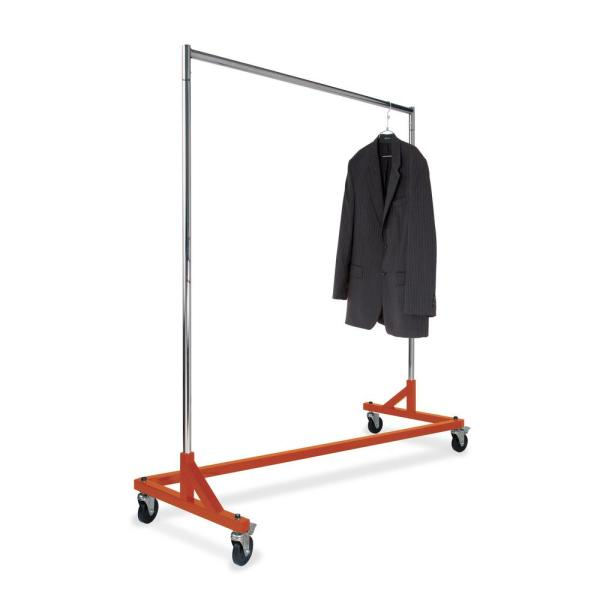 Econoco Orange Base Steel Clothes Rack With Wheels 61 In W X 70 In H Rzk8rng The Home Depot