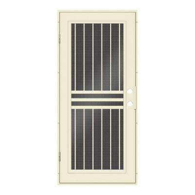 36 in. x 80 in. Plain Bar Beige Hammer Left-Hand Surface Mount Aluminum Security Door with Black Perforated Metal Screen