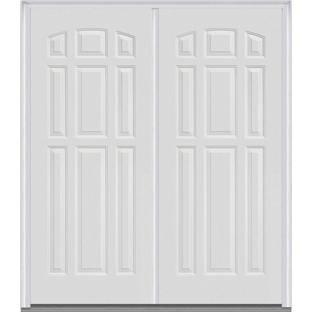 Mmi Door 74 In X In 9 Panel Painted Fiberglass Smooth Exterior Double Door Z018818l