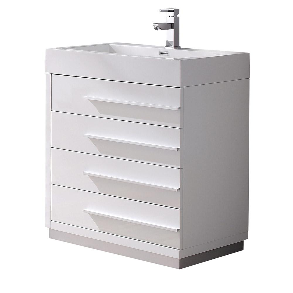 Fresca Livello 30 in. Bath Vanity in White with Acrylic Vanity Top in White with White Basin