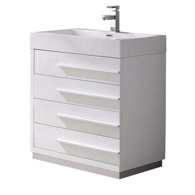 Livello 30 in. Bath Vanity in White with Acrylic Vanity Top in White with White Basin