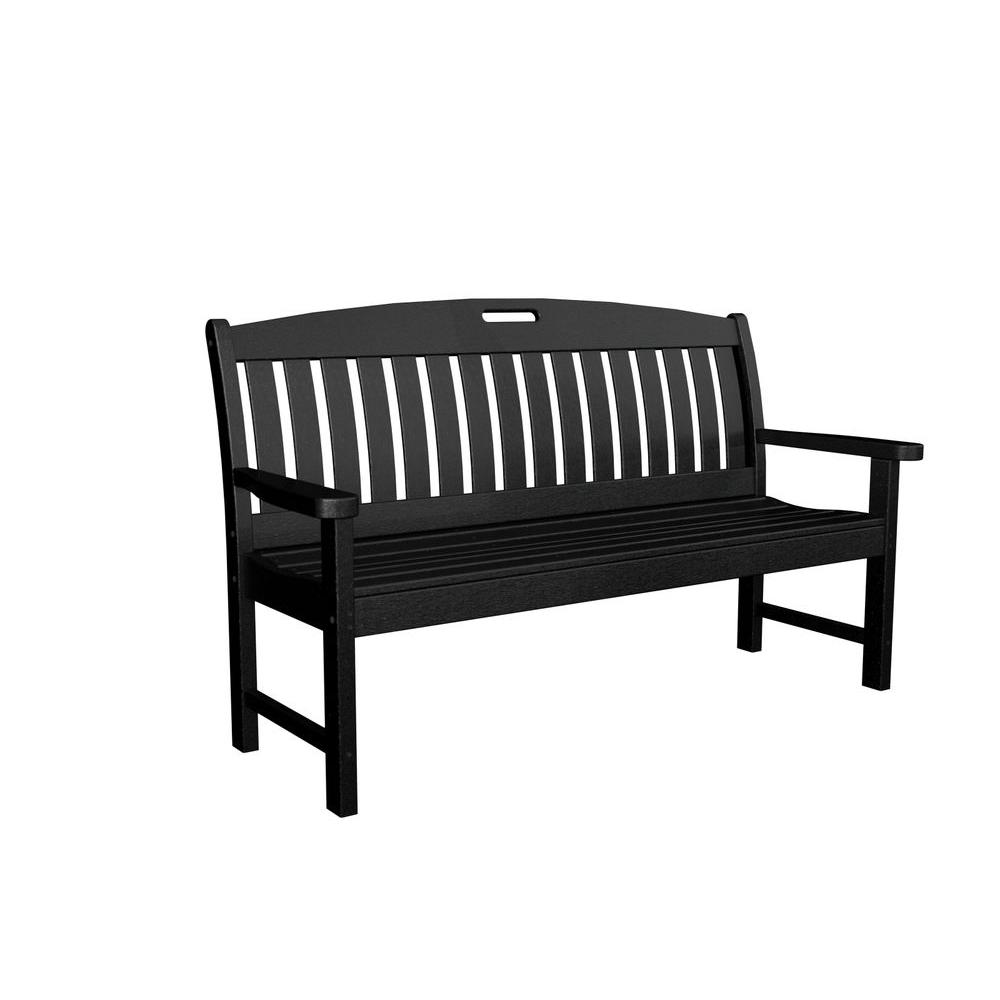 Nautical 60 in. Black Plastic Outdoor Patio Bench