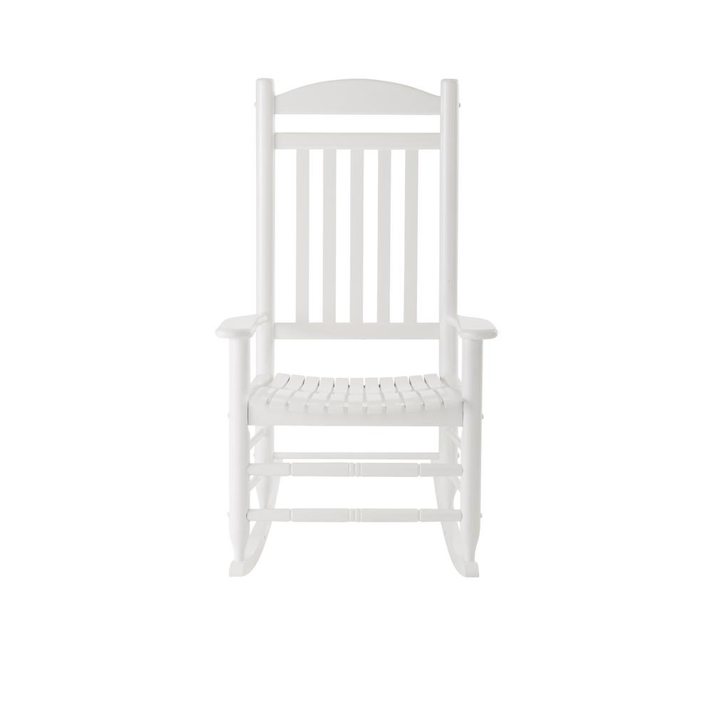Hampton Bay Glossy White Wood Outdoor Rocking Chair