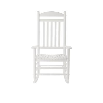 Glossy White Wood Outdoor Rocking Chair