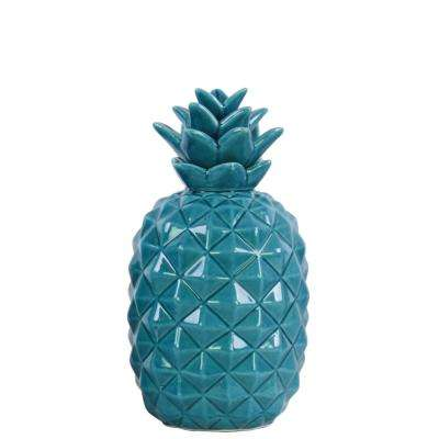 11.5 in. H Pineapple Decorative Figurine in Blue Gloss Finish