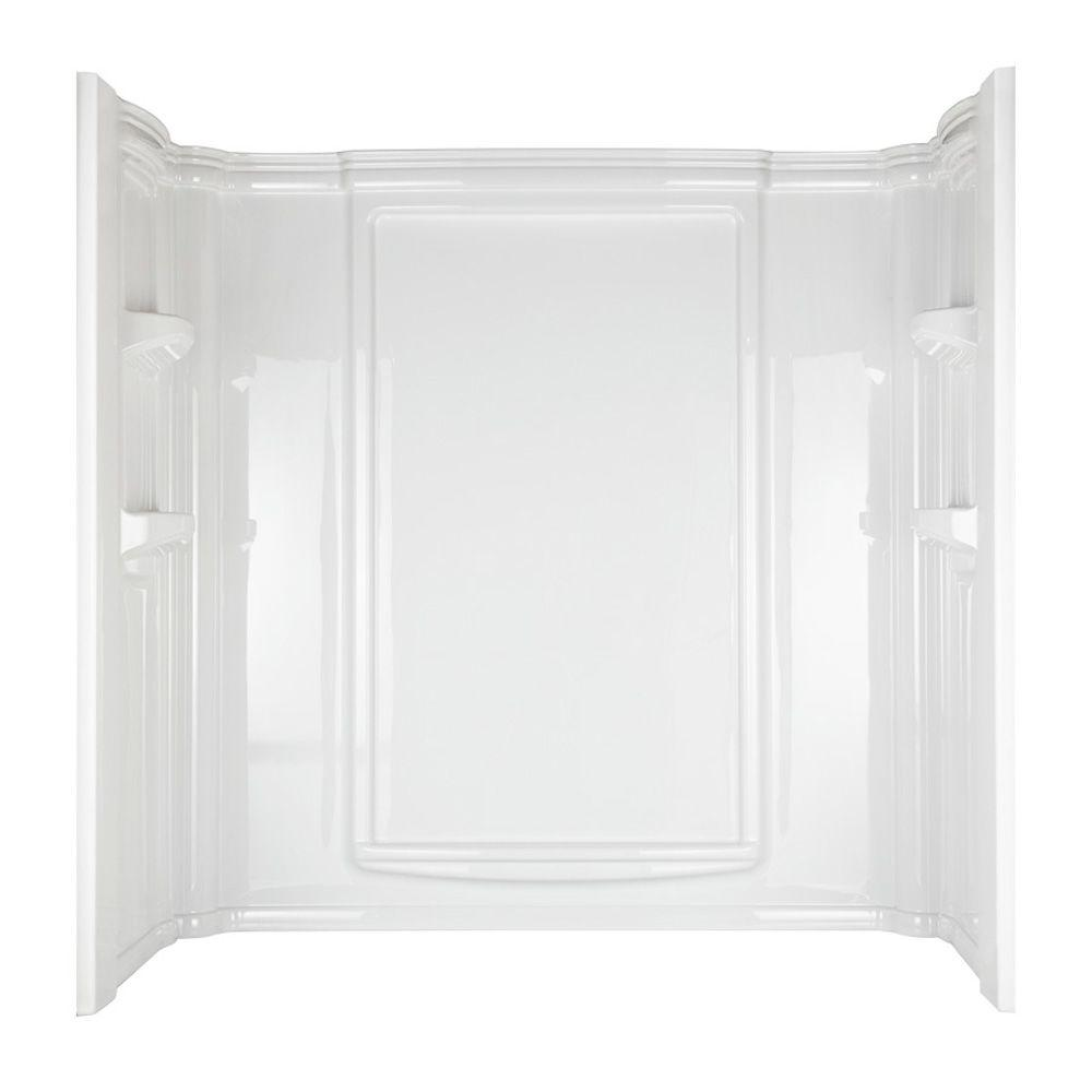 Aqua Glass 60 in. x 32 in . Eleganza Bathtub Wall Set in White