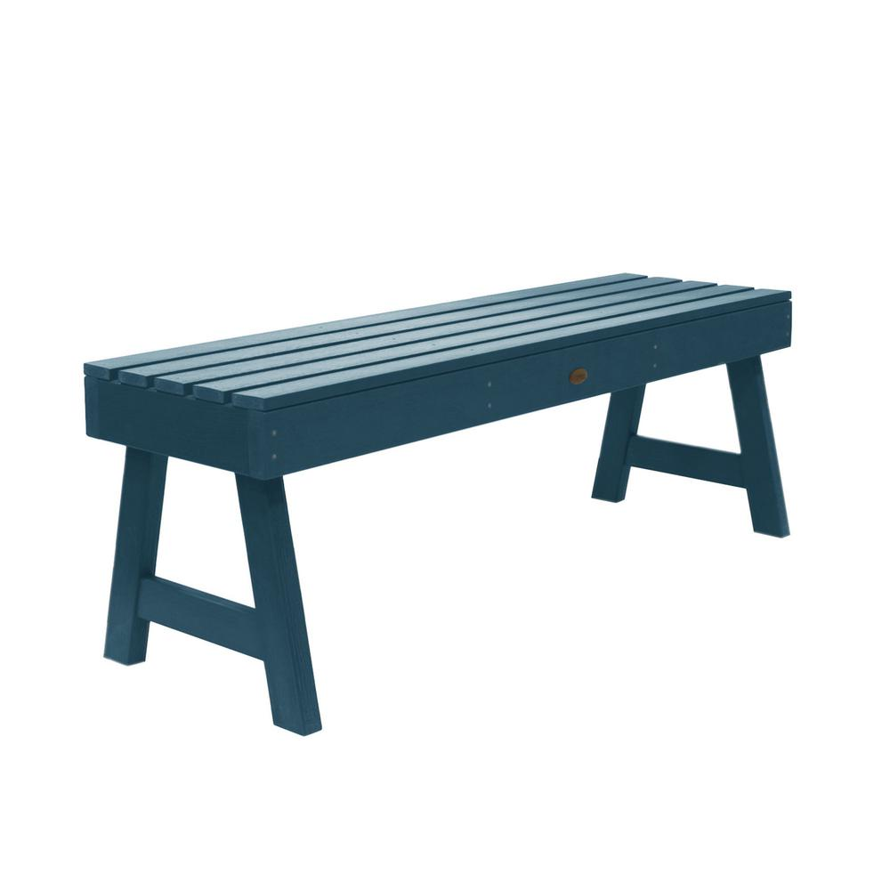 Highwood Weatherly 48 in. 2-Person Nantucket Blue Recycled Plastic Outdoor Picnic Bench