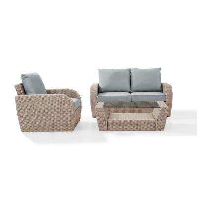 St Augustine 3-Piece Wicker Patio Outdoor Seating Set with Mist Cushion - Loveseat, Arm Chair, Coffee Table