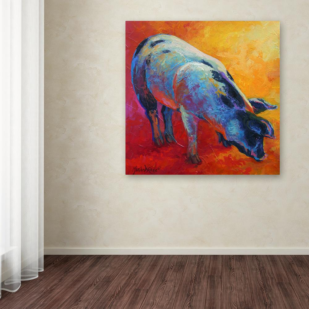 "18 in. x 18 in. ""Pig"" by Marion Rose Printed Canvas"