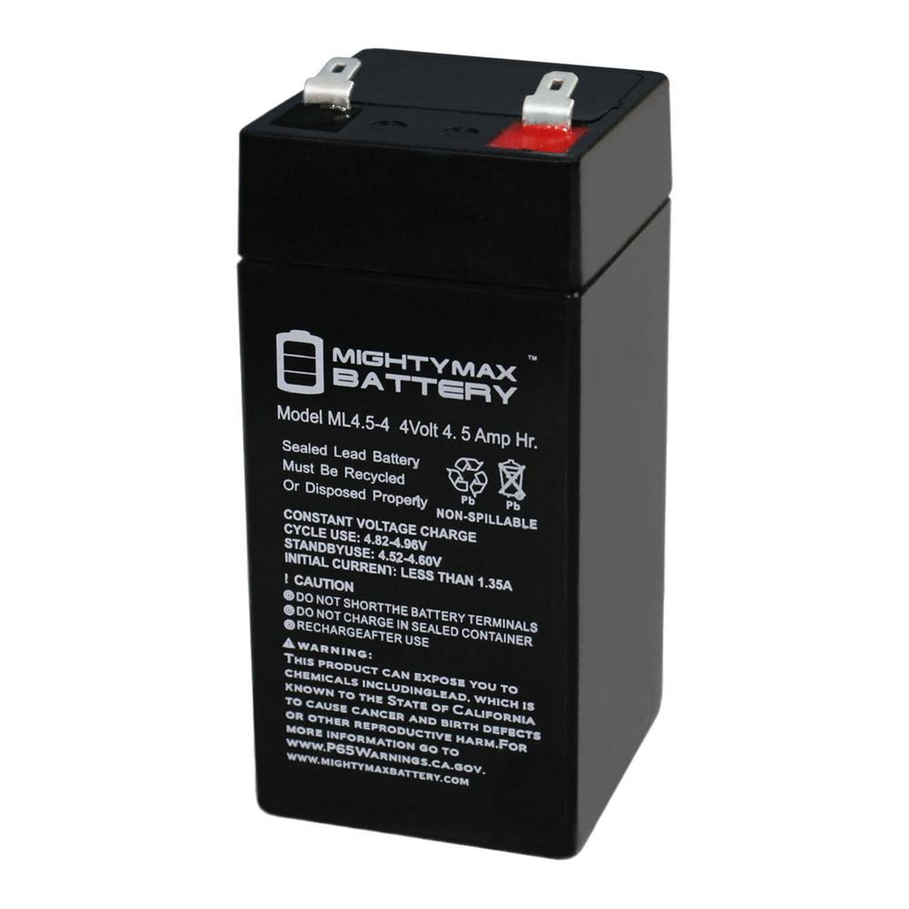 MIGHTY MAX BATTERY 4-Volt 4.5 Ah Rechargeable Sealed Lead Acid (SLA) Battery