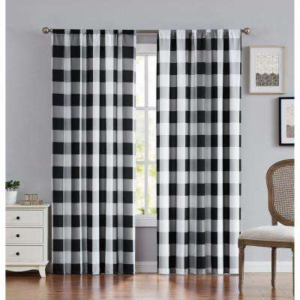 Everyday Buffalo Plaid Black Window Curtain