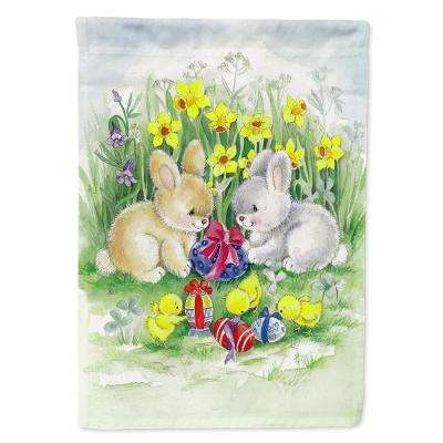 11 in. x 15-1/2 in. Polyester Easter Bunnies with Eggs 2-Sided 2-Ply Garden Flag