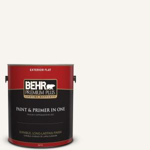 1 gal. #75 Polar Bear Flat Exterior Paint and Primer in One