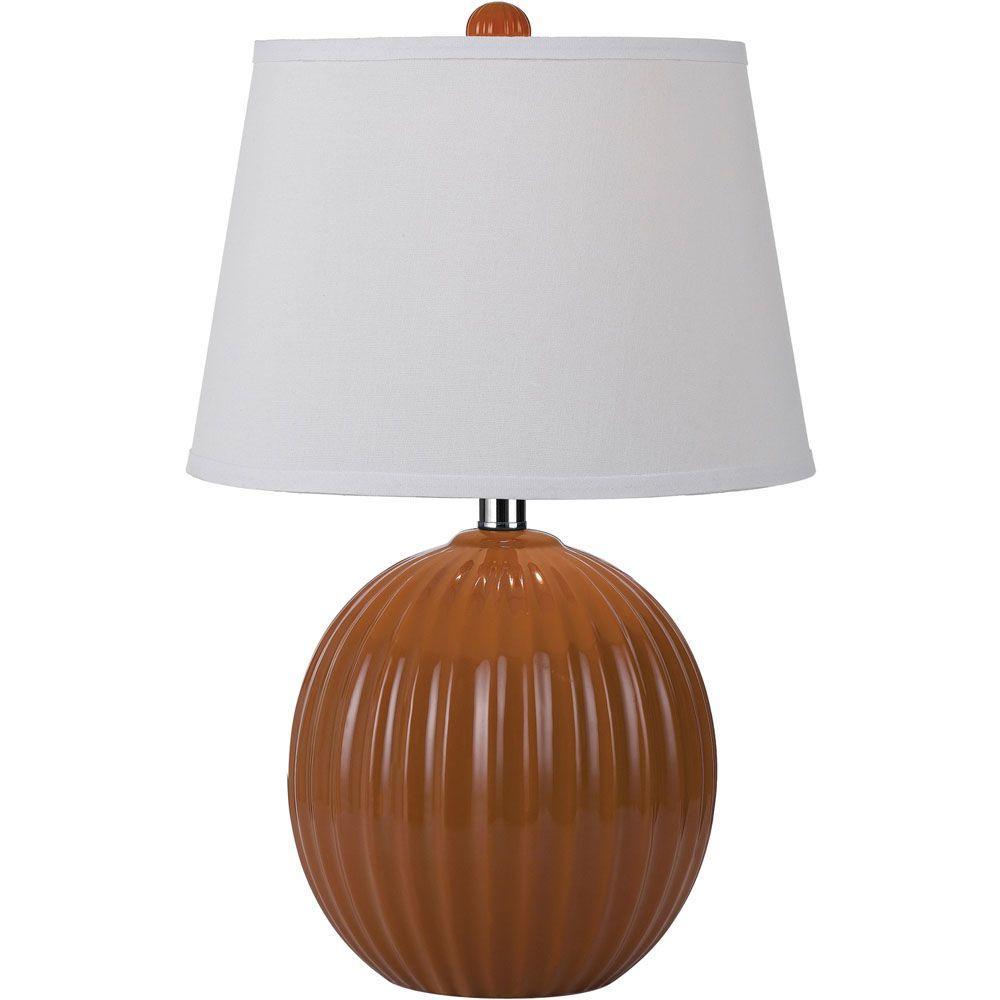 Bleeker 20.5 in. Orange Ceramic Ribbed Ball Table Lamp
