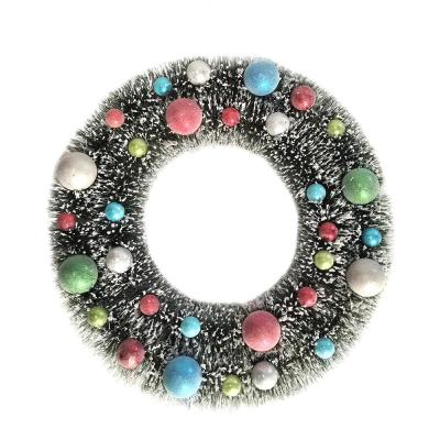 Jingle Jubilee 22 in. Whimsical Wreath with Multi-Colored Ornaments