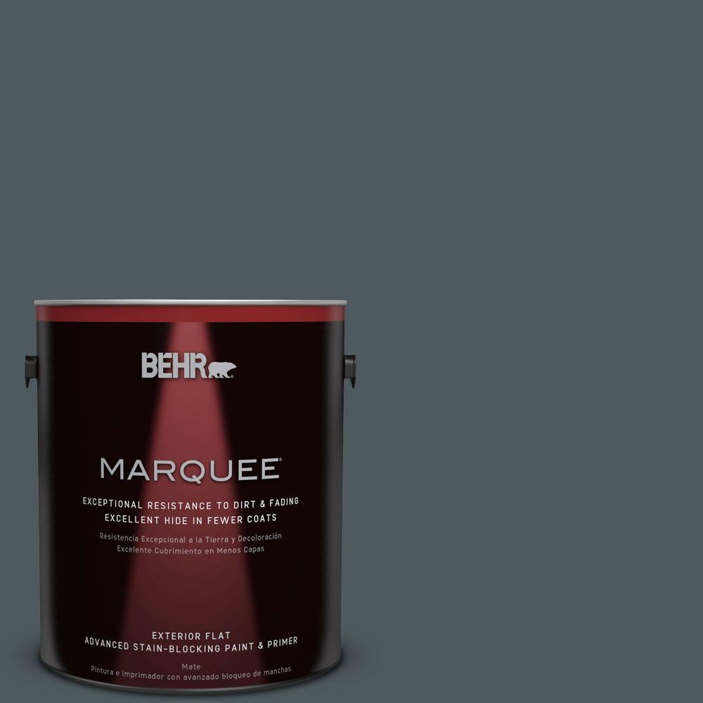 BEHR MARQUEE 1-gal. #N470-7 Submarine Gray Flat Exterior Paint