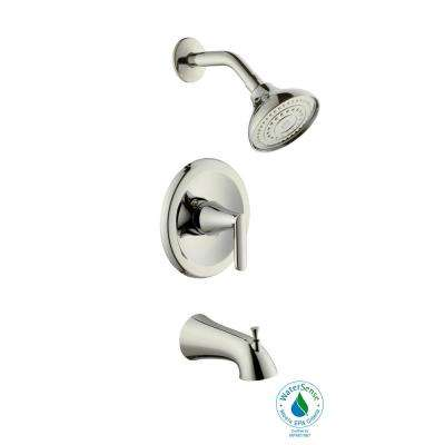 Jax Single-Handle 1-Spray Pressure Balance Tub and Shower Faucet in Polished Nickel (Valve Included)