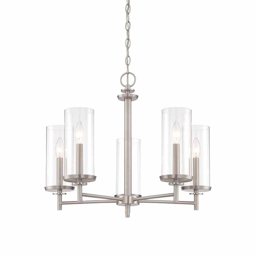 Hampton Bay 5 Light Brushed Nickel Chandelier With Clear