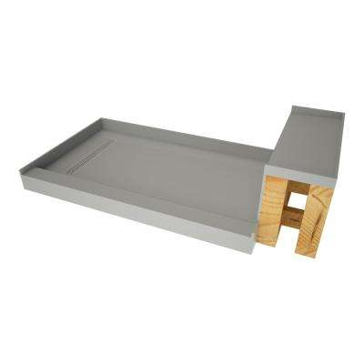 32 in. x 72 in. Single Threshold Shower Base in Gray and Bench Kit with Left Drain and Polished Chrome Trench Grate