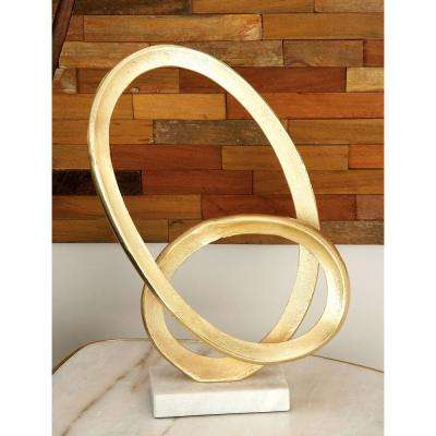 17 in. Abstract Loop Sculpture in Golden Aluminum