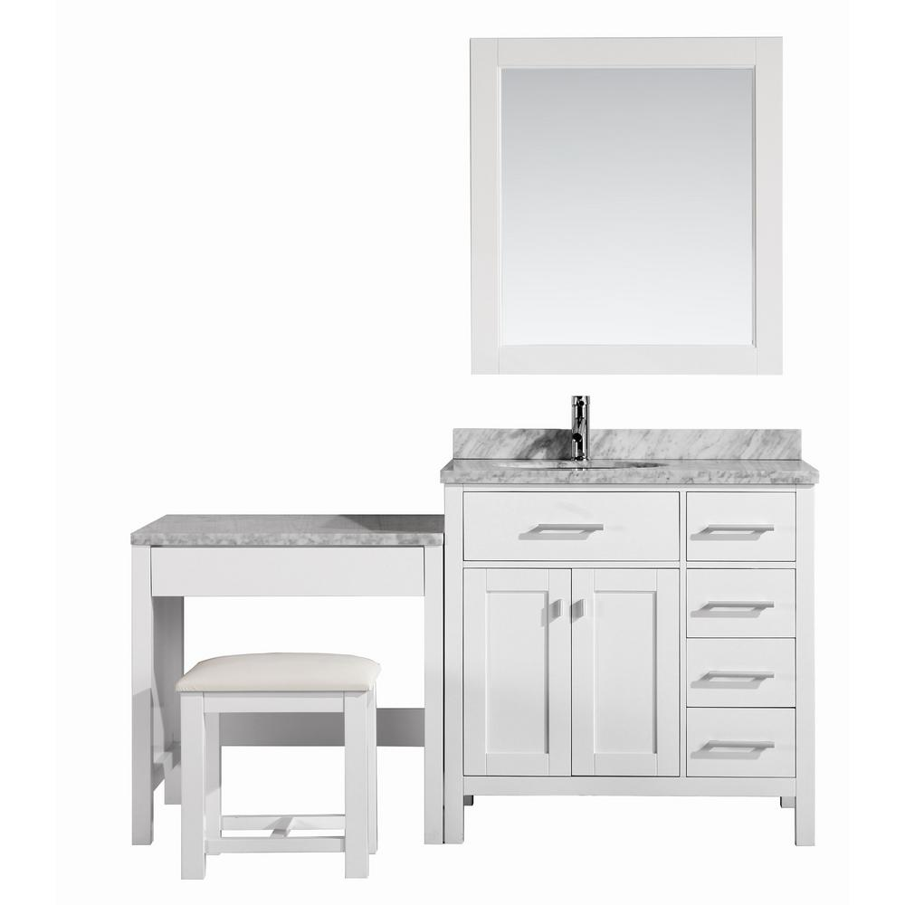 Design Element London 36 in. W x 22 in. D Vanity in White with Marble Vanity Top in Carrara White, Mirror and Makeup Table