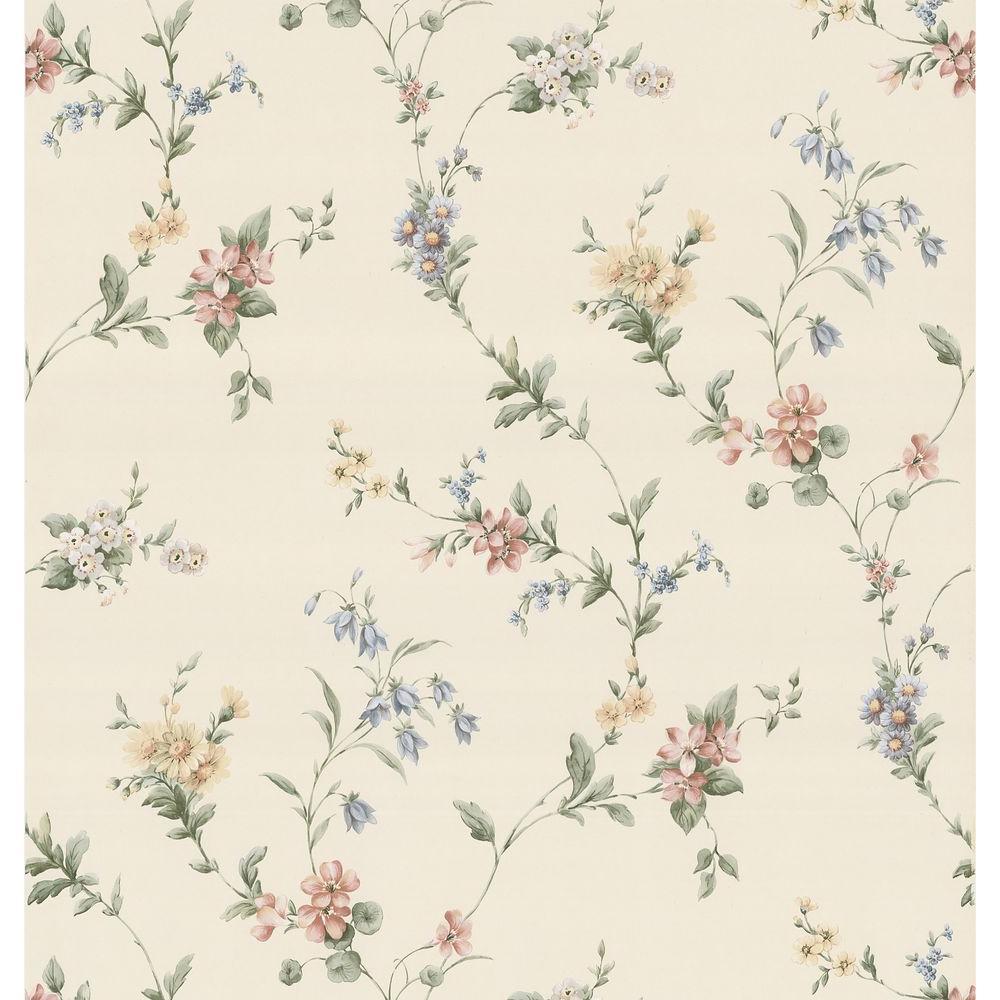 Brewster Floral Ribbon Wallpaper