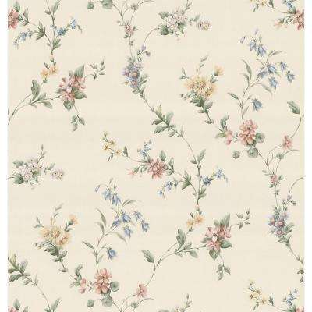 Floral Ribbon Wallpaper