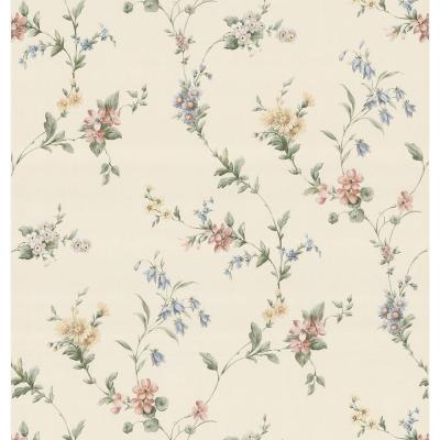 Kitchen Bath Bed Resource III Pastel Floral Ribbon Wallpaper Sample