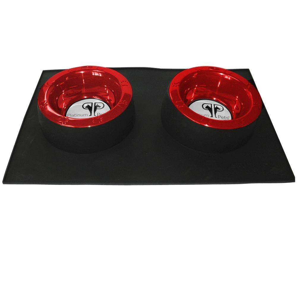 Platinum Pets Black Heavy Duty Silicone Feeding Mat with Two 4 Cup Wide Rimmed Bowls in Red-DISCONTINUED