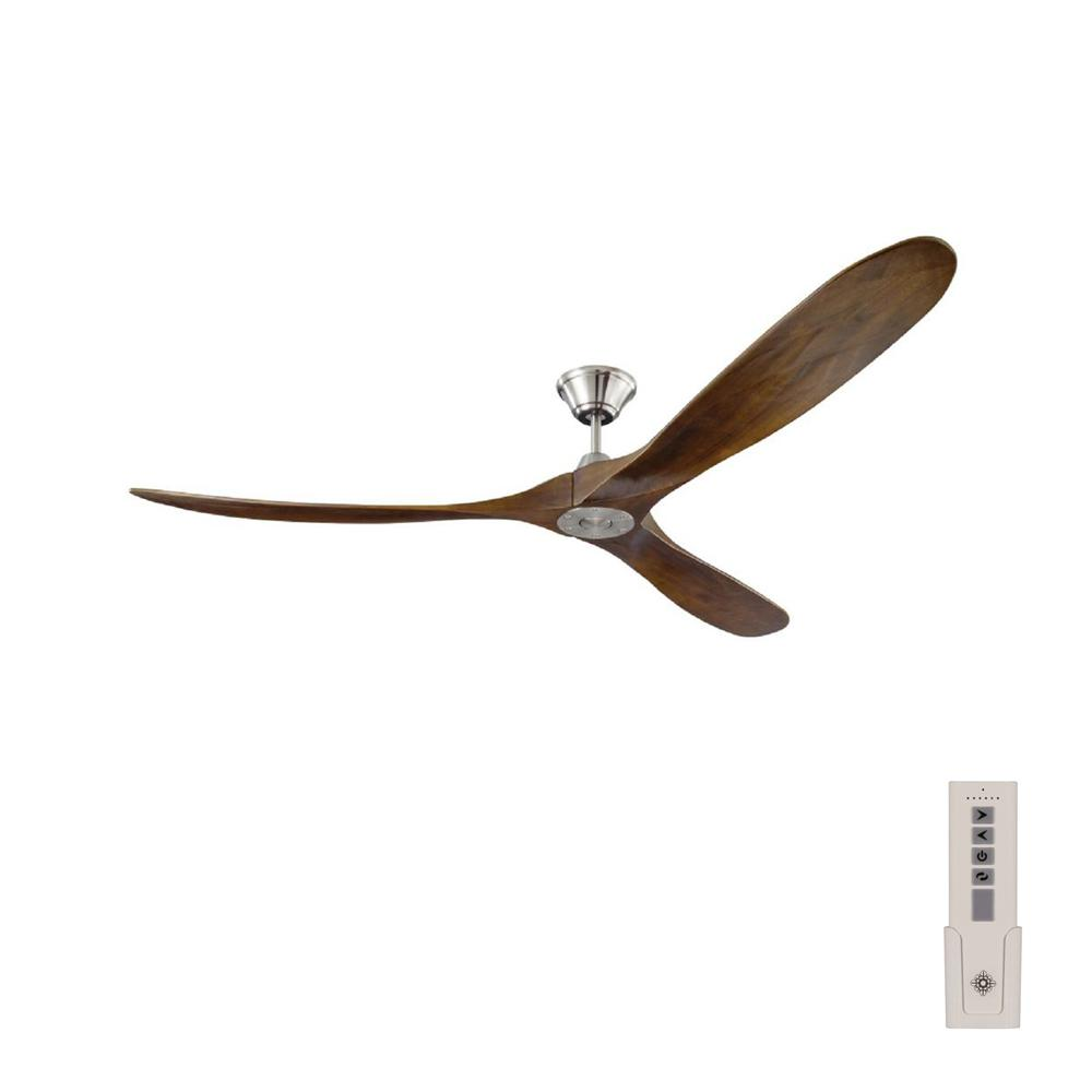 Maverick Max 70 in. Indoor/Outdoor Brushed Steel Ceiling Fan with Dark Walnut Balsa Blades, DC Motor and Remote Control