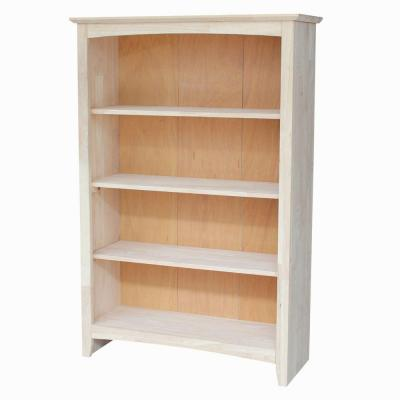 48 in. Unfinished Wood Wood 4-shelf Standard Bookcase with Adjustable Shelves