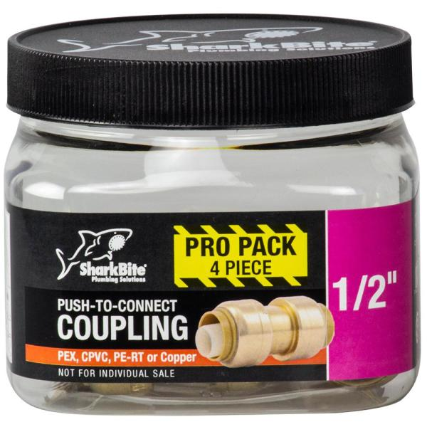1/2 in. Push-to-Connect Brass Coupling Fitting Pro Pack (4-Pack)