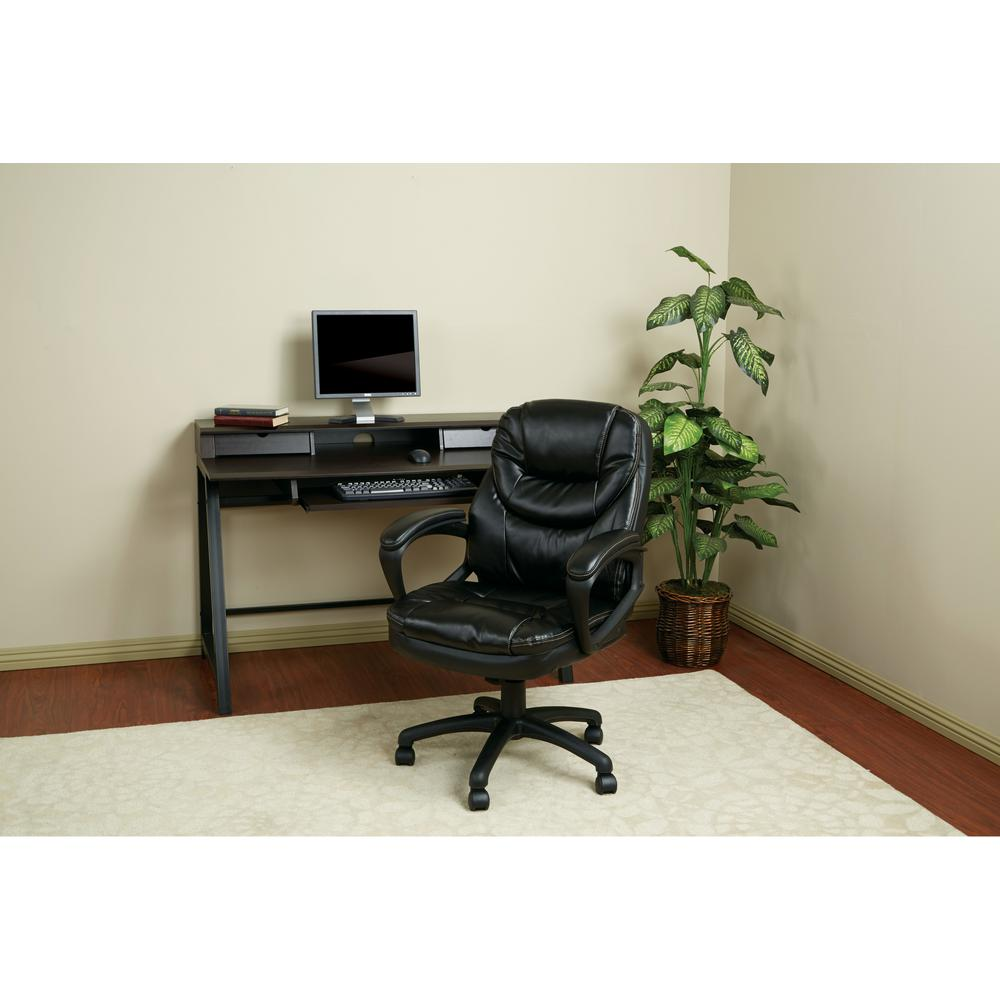 work smart black faux leather manager office chair fl660 u6 the home depot