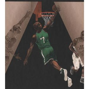 Retro Art Basketball Court Players Sports Prepasted Wallpaper