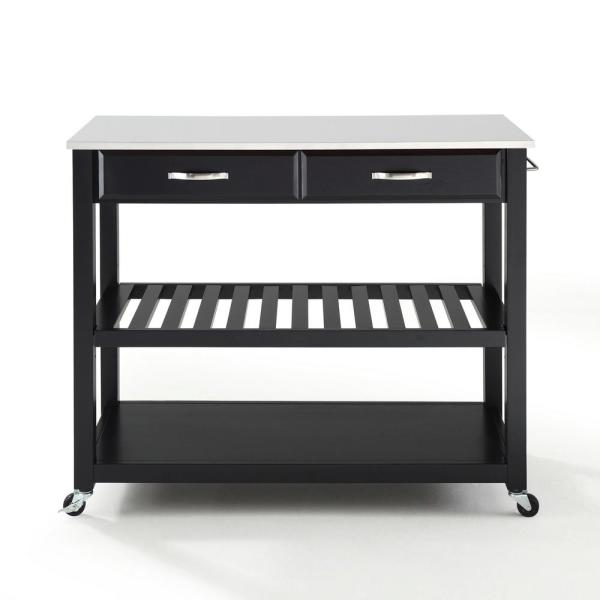 Black Full Size Kitchen Prep Cart with Granite Top