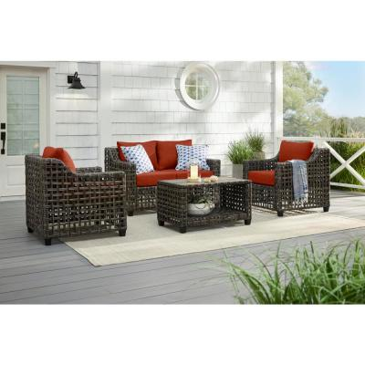Briar Ridge Brown Wicker Outdoor Patio Loveseat with CushionGuard Quarry Red Cushions