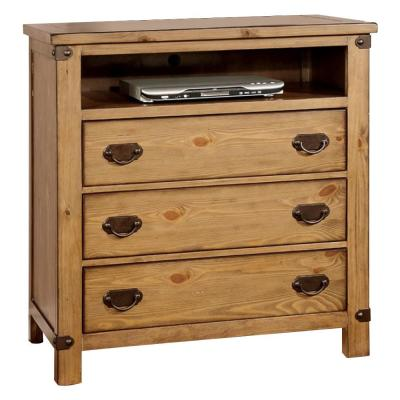 Cottage Style Wooden Brown Media Chest with Three Drawers
