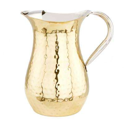 1 Qt. Hammered Champagne Tone Water Pitcher with Ice Guard