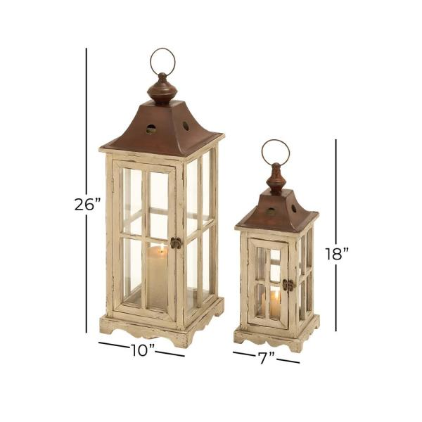 Litton Lane Large Rectangular Coastal Wood And Glass Lantern Set In Distressed Cream Finish W Triangular Metal Top And Round Handle 53165 The Home Depot