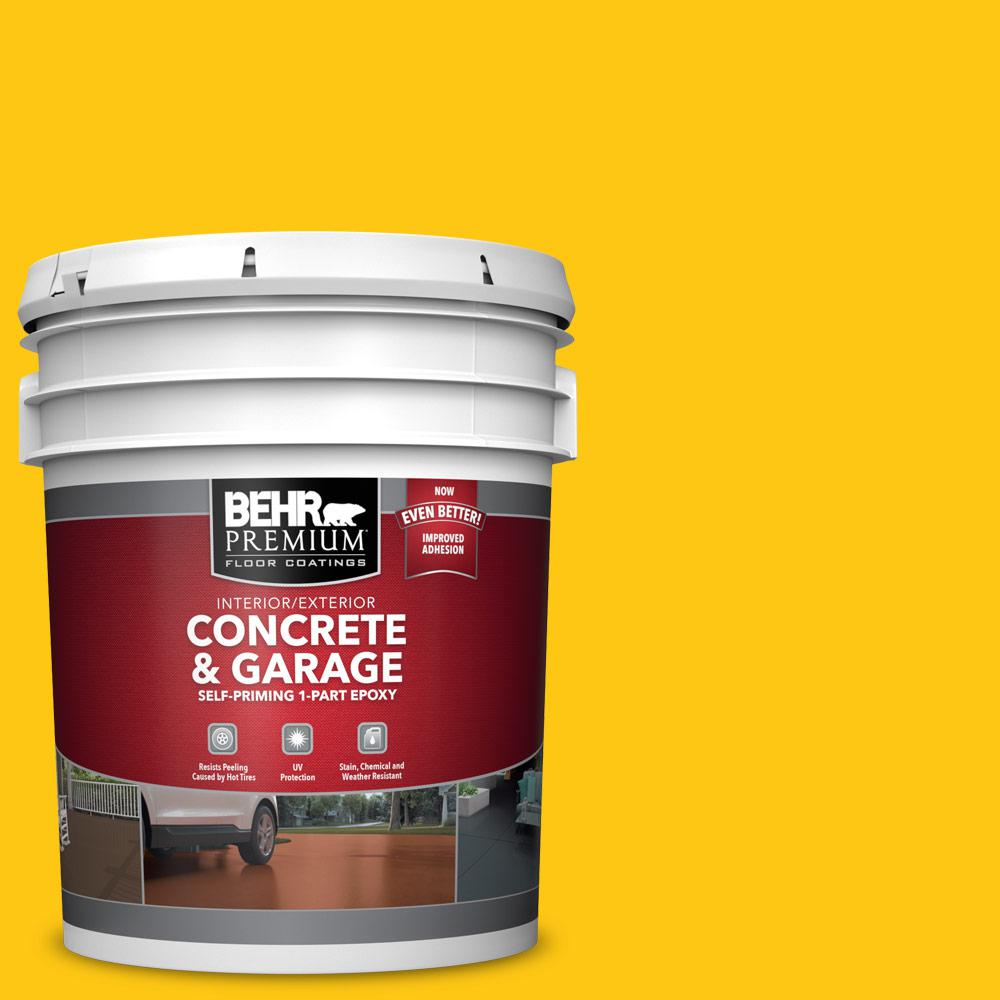 BEHR PREMIUM 5 gal. #P300-7 Unmellow Yellow Self-Priming 1-Part Epoxy Satin Interior/Exterior Concrete and Garage Floor Paint